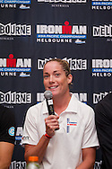 Rebekah Keat (AUS). Official Pre-Race Press Conference. 2012 Ironman Melbourne. Asia-Pacific Championship. Hosted By USM Events. 22/03/2012. Photo By Lucas Wroe.