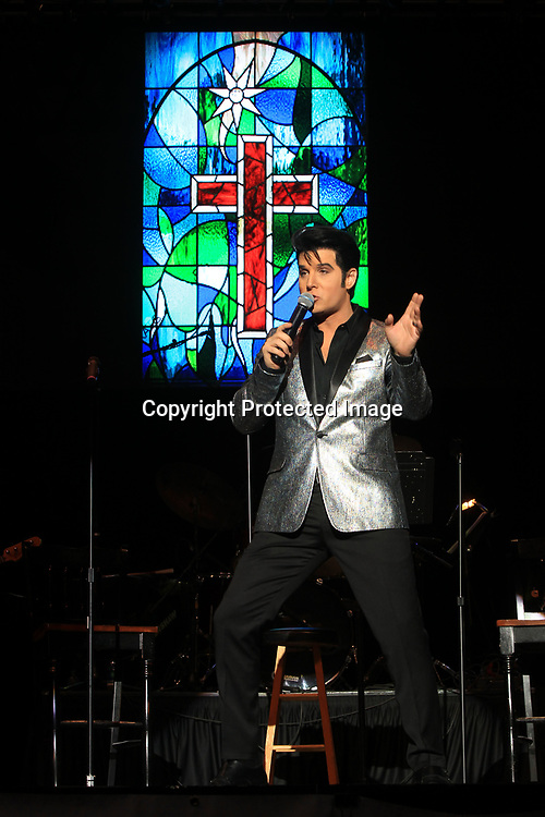 Jay Dupuis, the 2013 Elvis Tribute Artist Winner, performs Sunday morning as he opens the Gospel Concert at the BancorpSouth in Tupelo.