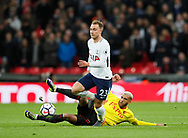 Etiene Capoue of Watford tackles Christian Eriksen of Tottenham during the premier league match at Wembley Stadium, London. Picture date 30th April 2018. Picture credit should read: David Klein/Sportimage