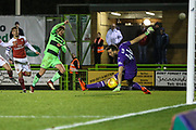 Forest Green Rovers Dayle Grubb(8) shoots at goal scores a goal 1-2 during the EFL Trophy group stage match between Forest Green Rovers and U21 Arsenal at the New Lawn, Forest Green, United Kingdom on 7 November 2018.