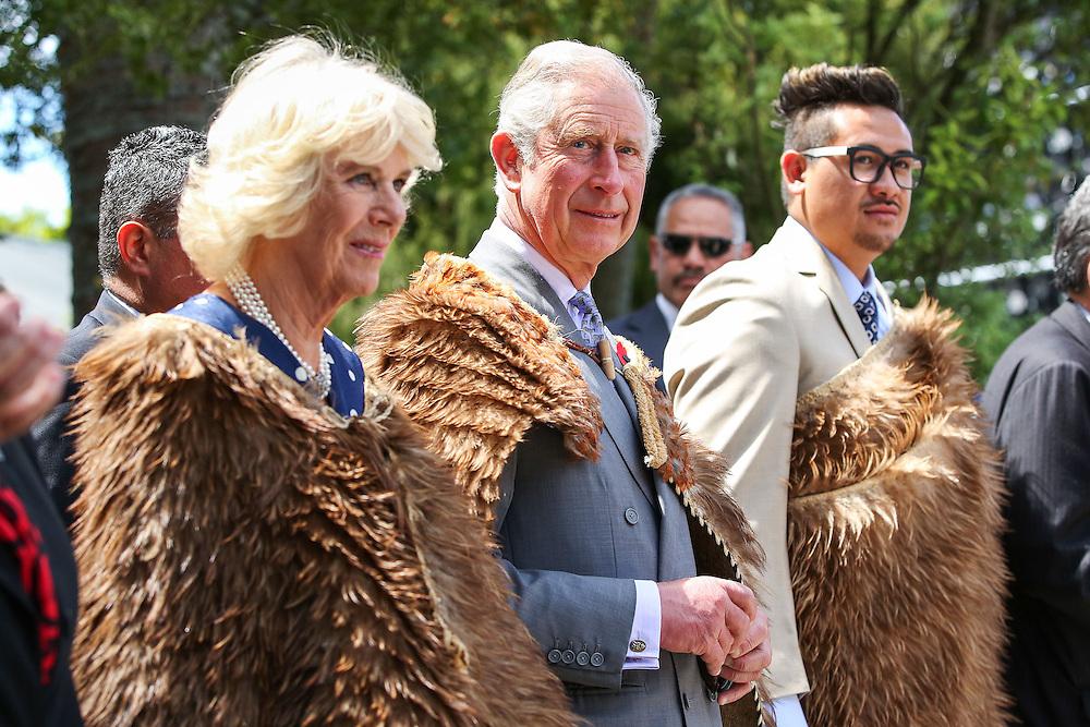 Prince Charles, Prince of Wales and Camilla, Duchess of Cornwall, and Te Ariki Tamaroa Whatumoana Te Aa arrive dressed in Korowai (traditional Maori woven cloak) during a visit to Turangawaewae Marae, Hamilton, New Zealand, New Zealand, Sunday, November 08, 2015. Credit:SNPA / Hagen Hopkins  **POOL**