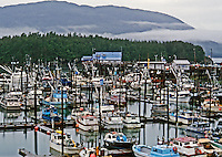 Cordova Harbor, Alaska. Taken from Beaver Aircraft on take-off from Lake on an overcast morning.