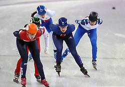 Great Britain's Charlotte Gilmartin (centre) on her way to finishing third in the Short Track Speed Skating - Ladies 1,500m Heat 3 at the Gangneung Oval during day eight of the PyeongChang 2018 Winter Olympic Games in South Korea.