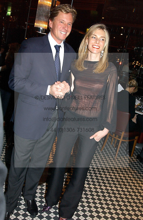 ROBERT & KIM HERSOV at a fund raising dinner hosted by Marco Pierre White and Frankie Dettori's in aid of Conservative Party's General Election Campaign Fund held at Frankie's No.3 Yeoman's Row,¾London SW3 on 17th January 2005.<br />
