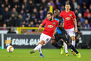 Manchester United midfielder Juan Mata (8) under a challenge from Club Brugge midfielder Eder Balanta (3) during the Europa League match between Club Brugge and Manchester United at Jan Breydel Stadion, Brugge, Belguim on 20 February 2020.