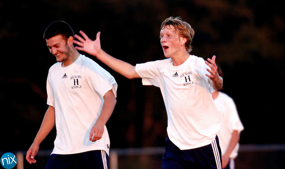Hickory Ridges Chris Schaffner celebrates after scoring a goal for the Ragin' Bulls against Anson Monday, October 6, 2008.