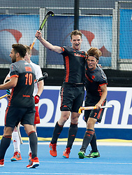 Netherlands' Mirco Pruijser celebrates scoring their first goal during the Men's World Hockey League, semi-final match at Lee Valley Hockey Centre, London.