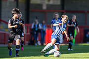 Ji So-Yun (Chelsea) looks on as Fliss Gibbons (Brighton) takes control of the ball during the FA Women's Super League match between Brighton and Hove Albion Women and Chelsea at The People's Pension Stadium, Crawley, England on 15 September 2019.