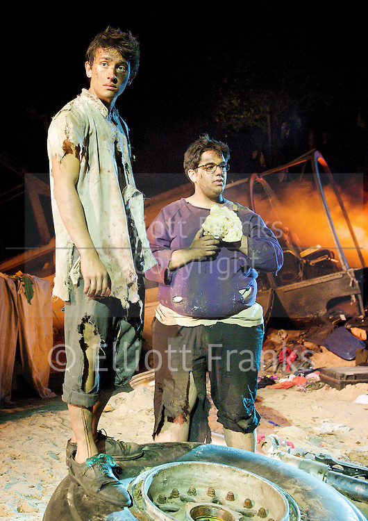 Lord of the Flies<br /> by William Golding <br /> adapted for stage by Nigel Williams<br /> at Regent's Park, Open Air Theatre, London, Great Britain <br /> press photocall<br /> 20th May 2011<br /> <br /> <br /> Alistair Toovey (as Ralph)<br /> George Bukhari (as Piggy)<br /> <br /> <br /> Photograph by Elliott Franks