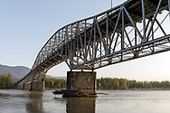 The Agassiz-Rosedale Bridge over the Fraser River in Agassiz, British Columbia, Canada.  The Agassiz-Rosedale Bridge is a Metal Cantilever bridge with a span of 111.25 meters (365 feet), and was built in 1956.