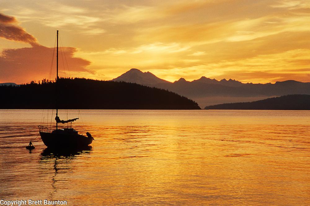 Mt. Baker; San Juan Islands; Sunrise; Cypress Island; Sailboat, Washington State