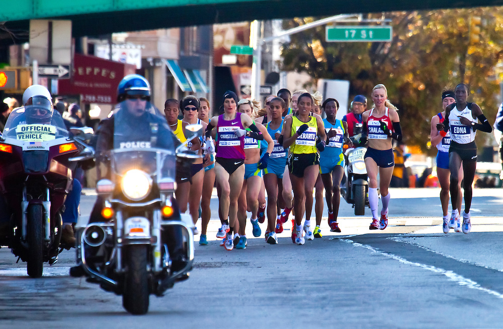 NYC Marathon, 2010. Women's lead pack.