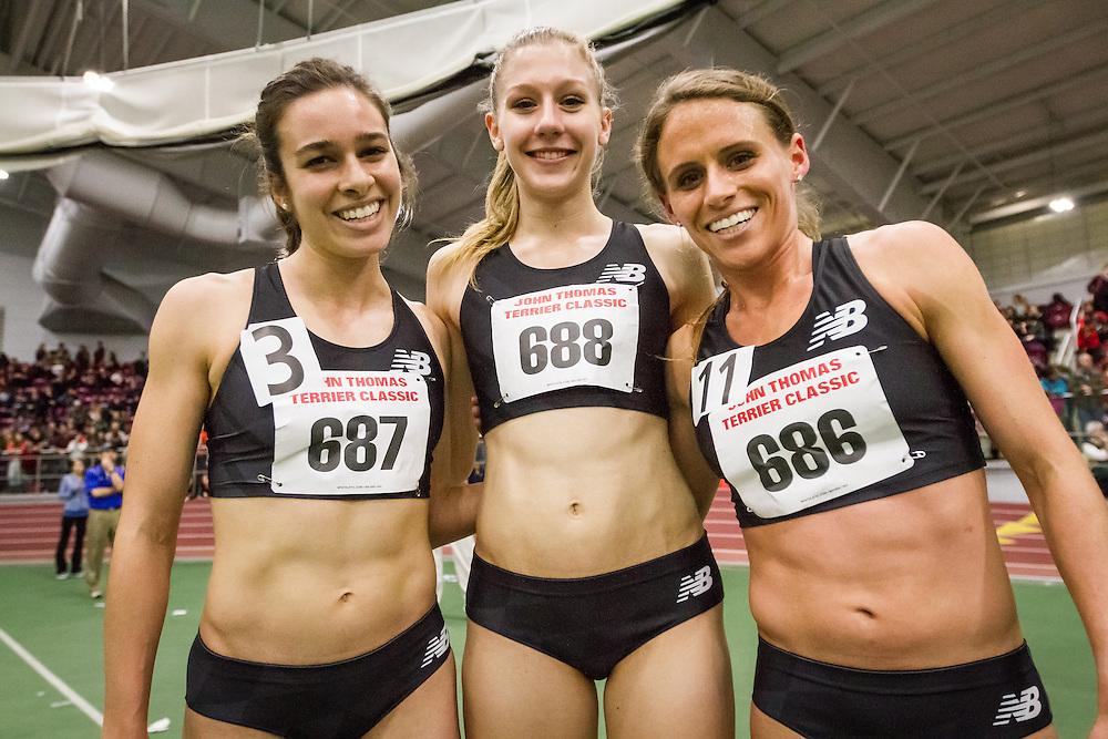 Abbey D'Agostino, Megan Krumpoch, Liz Costello, New Balance, BU Terrier Invitational Indoor Track and Field