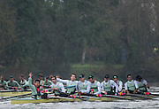 "London, Great Britain, Cambridge ""Listo"" looks back to the umpire to raise a protest  after the race, The BNY Mellon Men's Boat Race, Trail Eights Championship Course. Tideway Week, Putney to Mortlake. ENGLAND. <br /> <br />  Sunday 09/04/2015<br /> <br /> [Mandatory Credit; Peter Spurrier/Intersport-images]<br /> <br /> CUBC Trial VIII's between FUERTE on Surrey and LISTO on Middlesex<br /> <br /> FUERTE, Bow, Peter Carey, 2, Patrick Elwood, 3, Alister Taylor, 4, Peter Rees, 5, Charlie Fisher, 6, Ali Abbasi, 7, Luke Juckett, Stroke, Lance Tredell, Cox, Ian Middleton<br /> <br /> LISTO, Bow, Piers Kasas, Felix Newman, 3, Sam Ringer, 4, Joe Carroll, 5, Clemens Auersperg, 6, Vincent Bertram, 7, Henry Hoffstot, Stroke, Ben Ruble, Cox, Hugo Ramambason"