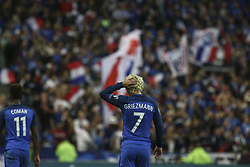 October 10, 2017 - Paris, France - Joy for Antoine Griezmann of France as he puts his side 1-0 ahead during the Fifa 2018 World Cup qualifying match between France and Belarus on October 10, 2017 in Paris, France. (Credit Image: © Elyxandro Cegarra/NurPhoto via ZUMA Press)