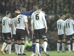 Chelsea Didier Drogba puts his point across to Derby Richard Keogh, Derby County v Chelsea, Capital One Cup Quarter Final, Score Derby 1(Bryson),  Chelsea 3 (Hazard, Luis, Schurrle) Pride Park Tuesday 16th December 2014