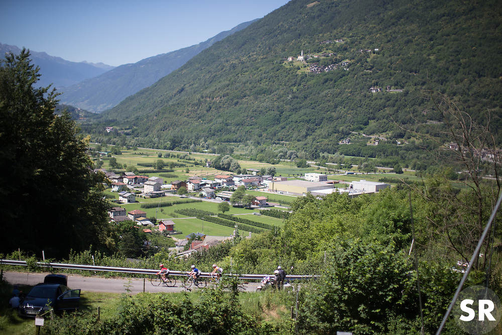 Emma Pooley (GBR) of Lotto Soudal Cycling Team, Tatiana Guderzo (ITA) of Hitec Products Cycling Team and Shara Gillow (AUS) of Rabo-Liv Cycling Team lead the race at the bottom of the Mortirolo during the Giro Rosa 2016 - Stage 5. A 77.5 km road race from Grosio to Tirano, Italy on July 6th 2016.