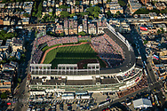 An aerial view from the west of Wrigley Field taken during a game against the St. Louis Cardinals. This image was taken as part of an assignment for a 100 year anniversary book on Wrigley Field for Major League Baseball.