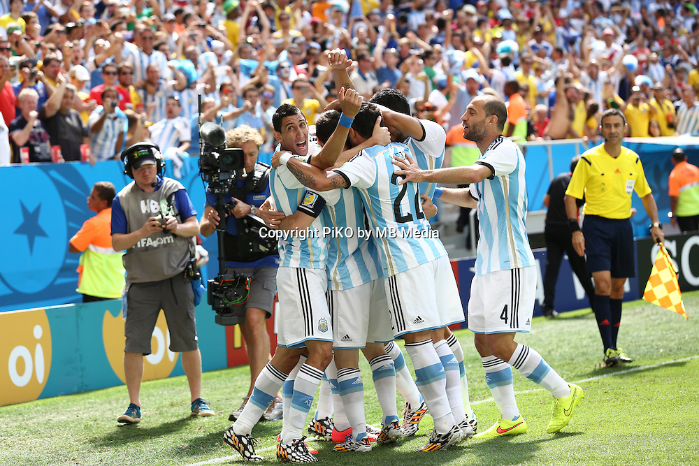 Fifa Soccer World Cup - Brazil 2014 - <br /> ARGENTINA (ARG) Vs. BELGIUM (BEL) - Quarter-finals - Estadio Nacional Brasilia -- Brazil (BRA) - 05 July 2014 <br /> Here Argentine players Angel Di Maria (L), Lionel Messi (C), Gonzalo Higuain (C) , Pablo Zabaleta (R), Ezequiel Lavezzi (C) and Lucas Biglia (R) celebrating Higuain's goal. Scoring the match 1-0.<br /> &copy; PikoPress