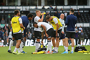 Derby players warm up during the EFL Sky Bet Championship match between Derby County and Bristol City at the Pride Park, Derby, England on 20 August 2019.