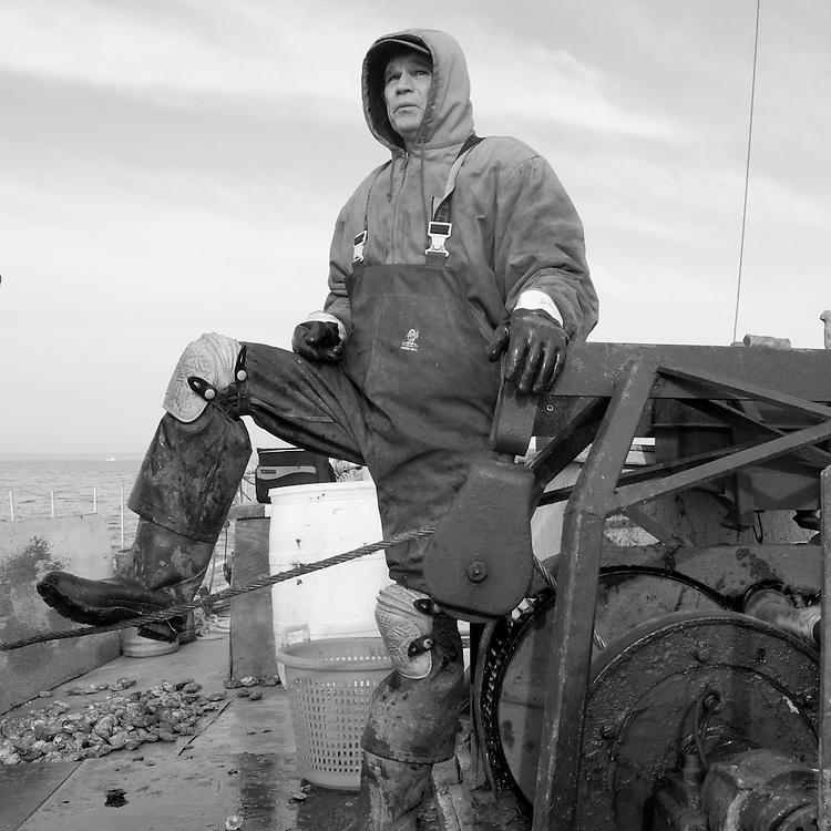Skipjack Thomas Clyde dredging oysters near Tilghman Island in Chesapeake Bay