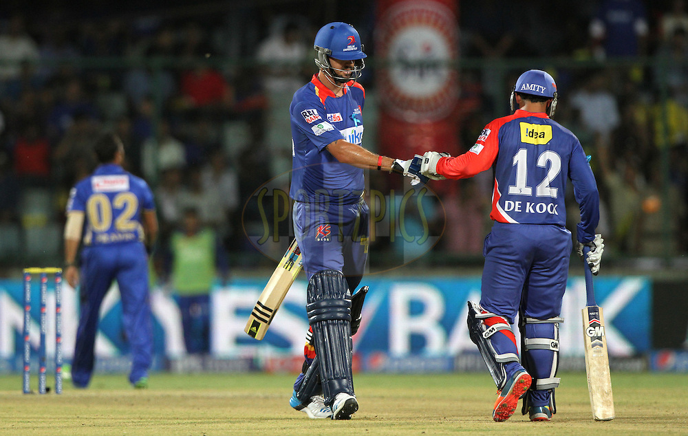 Kevin Pietersen captain of of the Delhi Daredevils  with Quinton de Kock during match 23 of the Pepsi Indian Premier League Season 2014 between the Delhi Daredevils and the Rajasthan Royals held at the Feroze Shah Kotla cricket stadium, Delhi, India on the 3rd May  2014<br /> <br /> Photo by Deepak Malik / IPL / SPORTZPICS<br /> <br /> <br /> <br /> Image use subject to terms and conditions which can be found here:  http://sportzpics.photoshelter.com/gallery/Pepsi-IPL-Image-terms-and-conditions/G00004VW1IVJ.gB0/C0000TScjhBM6ikg