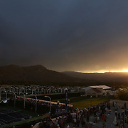 March 18, 2015, Indian Wells, California:<br /> Sun sets on day ten at the Indian Wells Tennis Garden in Indian Wells, California Wednesday, March 18, 2015.<br /> (Photo by Billie Weiss/BNP Paribas Open)