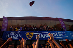Players of NK Maribor and Viole, Maribor's supporters at the final Trophy ceremony after the football match between NK Maribor and NK Domzale of 36th - Last Round of 1st Slovenian football league PrvaLiga, on May 29, 2011 in Stadium Ljudski vrt, Maribor, Slovenia. (Photo By Vid Ponikvar / Sportida.com)