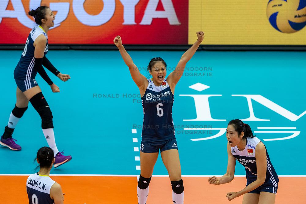 14-10-2018 JPN: World Championship Volleyball Women day 15, Nagoya<br /> China - United States of America 3-2 / Xiangyu Gong #6 of China, Ting Zhu #2 of China
