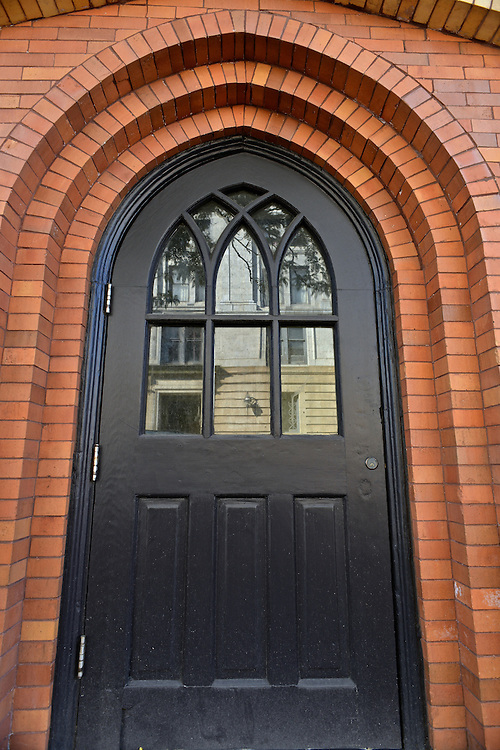 Door of the Gothic Building at the corner of Mill St. and High St.