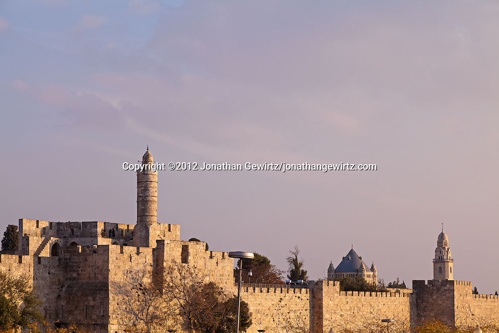 The Citadel of David and Dormition Abbey along the walls of Jerusalem's Old City. WATERMARKS WILL NOT APPEAR ON PRINTS OR LICENSED IMAGES.