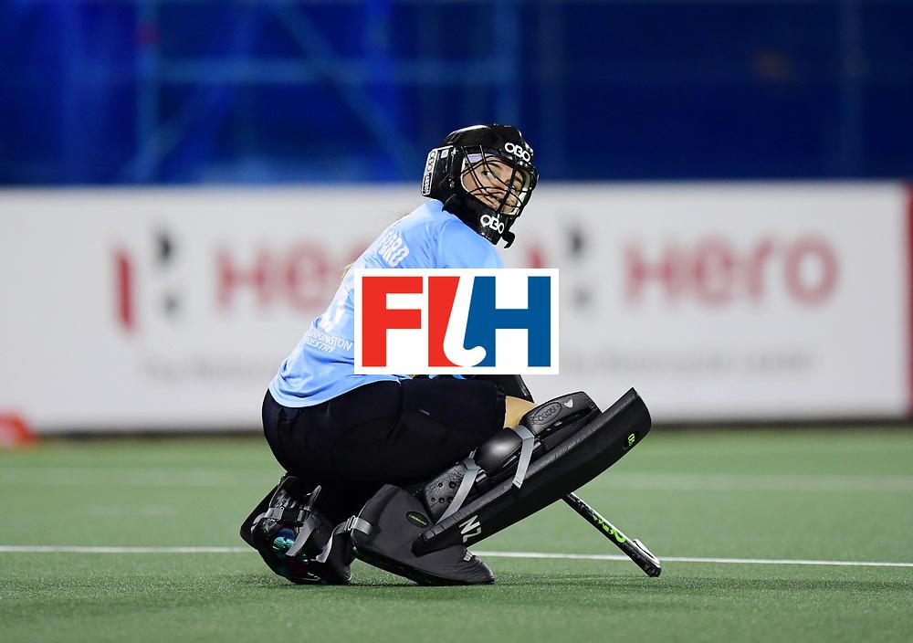 AUCKLAND - Sentinel Hockey World League final women<br /> Match id: 10310<br /> 20 ENG v NZL (Semi Final) 0-1<br /> New Zealand play the final<br /> Foto: Sally Rutherford (Gk) watching the screen behind her.<br /> WORLDSPORTPICS COPYRIGHT FRANK UIJLENBROEK