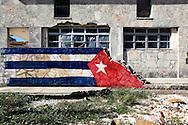 Hurricane damaged wall in Santa Fe, Havana, Cuba.