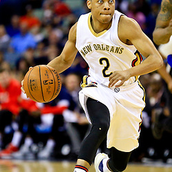 Mar 28, 2016; New Orleans, LA, USA; New Orleans Pelicans guard Tim Frazier (2) drives down court against the New York Knicks during the second half of a game at the Smoothie King Center. The Pelicans defeated the Knicks 99-91. Mandatory Credit: Derick E. Hingle-USA TODAY Sports