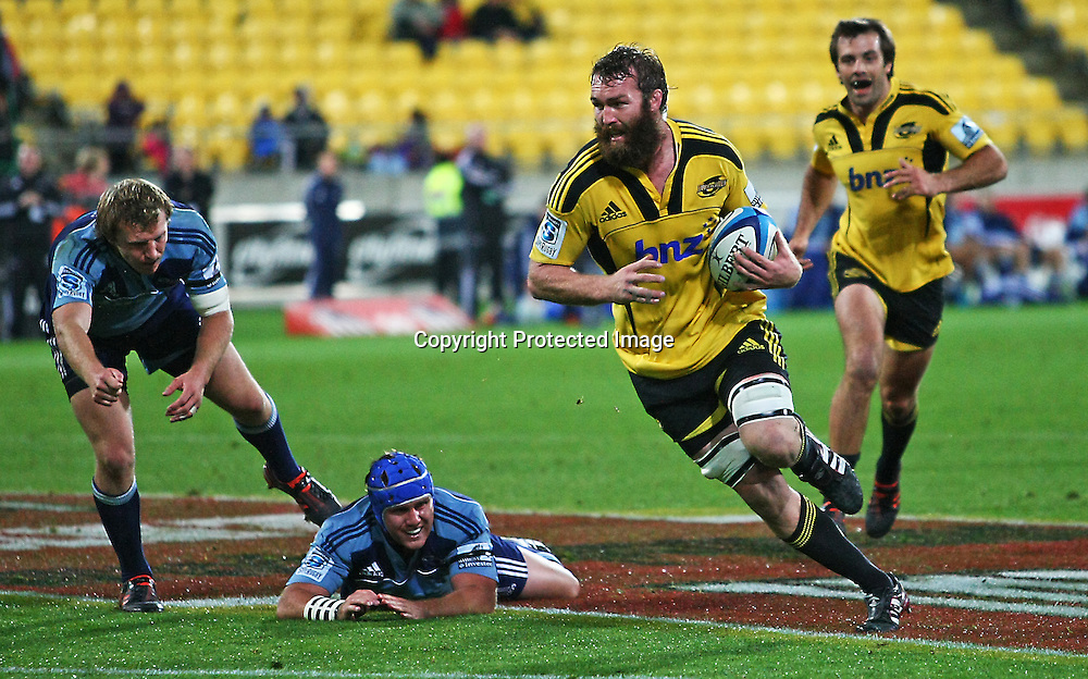 Jason Eaton on his way to score during their Super Rugby match, Hurricanes v Blues, Westpac stadium, Wellington, New Zealand. Friday 4 May 2012.  PHOTO: Grant Down / photosport.co.nz
