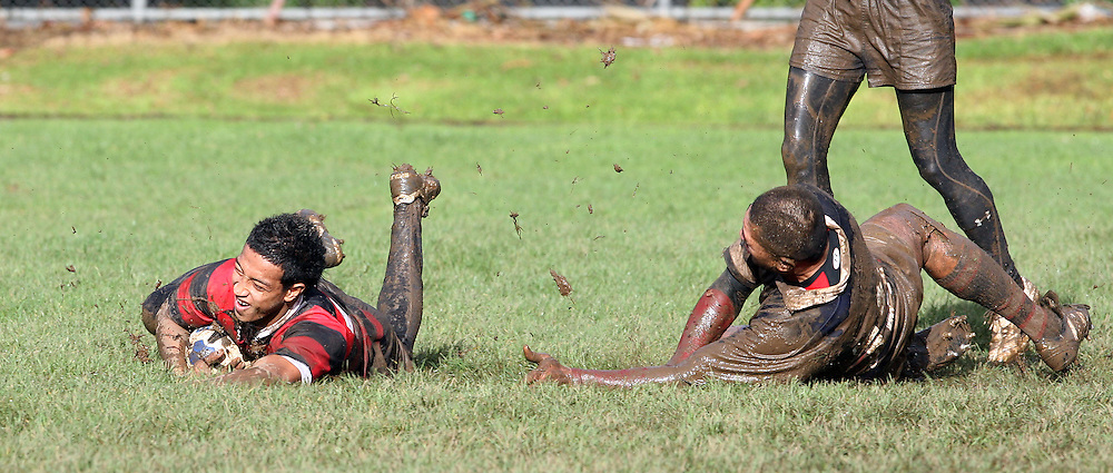 Solomona Silipa slides in a try for Otahuhu, Manukau v Otahuhu, Final Score 60-8 to Otahuhu, Gallaher Shield, Club Rugby, Williams Park, 19 July 2008. Photo: William Booth/PHOTOSPORT