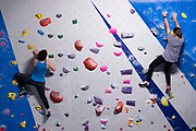 HowToMeet0617 Climbers climb the walls at the ASCEND climbing gym, Wednesday, June 6, 2018 in the South Side Flats. (Harrison Jones/Post-Gazette)