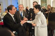 AMBASSADOR OF PARAGUAY; MIGUEL SOLANO LOPEZ; CHRISTOPHER LE BRUN; MARIKO MORI, Mariko Mori opening, Royal Academy Burlington Gardens Gallery. London. 11 December 2012.