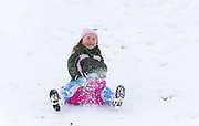 1/12/2010.Anna Ryan aged (6) pictured sliding in the snow in Kilkenny yesterday..(Parents permission to photograph granted).Picture Dylan Vaughan