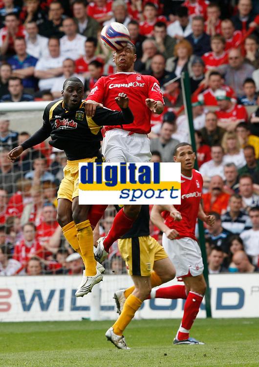 Photo: Steve Bond/Richard Lane Photography. <br />Nottingham Forest v Yeovil Town. Coca-Cola Football League One. 03/05/2008. Julian Bennett (R) outjumps Marvin Weilliams (L)