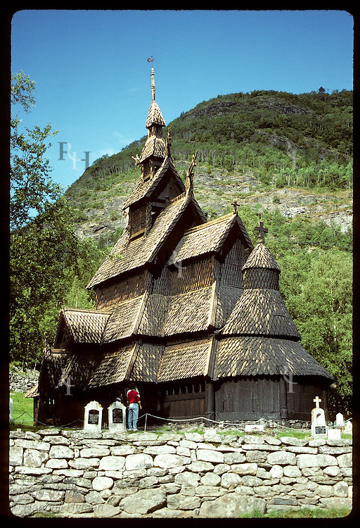 Borgund stave church (back view) is the best preserved in Norway, from mid 1100s; Sogn County. Norway
