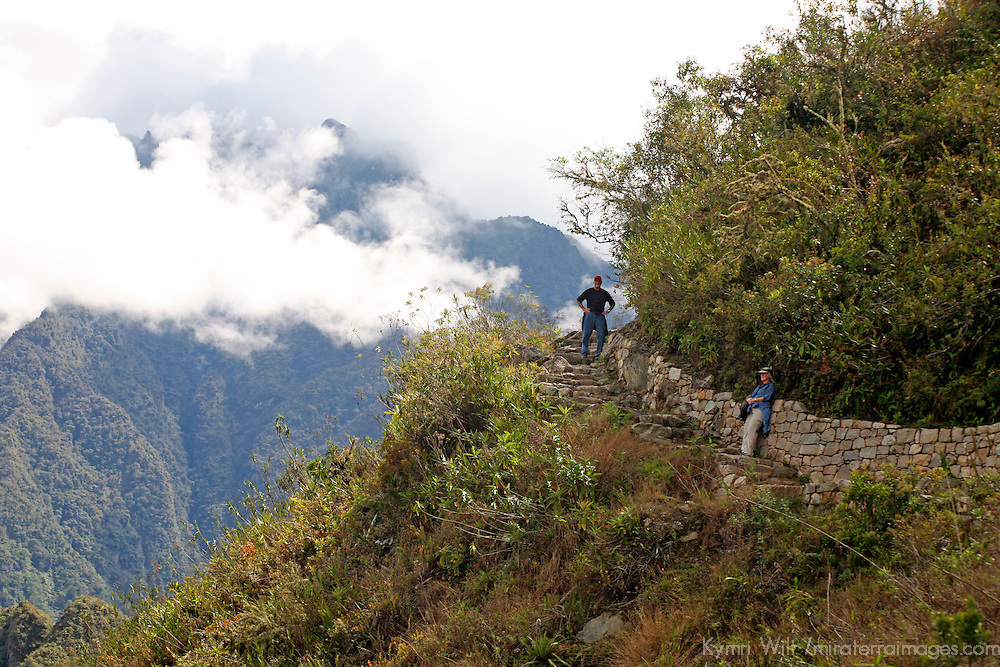 South America, latin America, Peru, Urubamba. Hiking trail from Machu Picchu to Sun Gate, or Intipunku.
