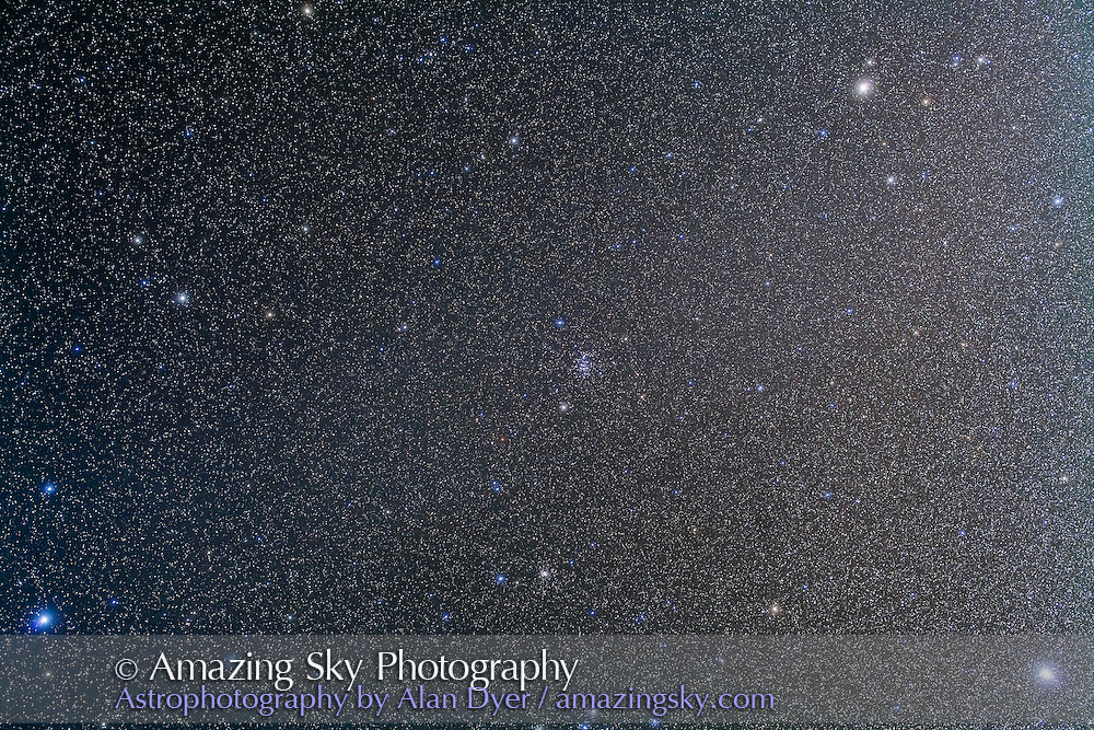 The constellation of Cancer with the star cluster M44 at centre. Taken from New Mexico, March 2013, with the 50mm Sigma lens at f/4 and Canon 5D MkII at ISO 800 for a stack of 5 x 7 minute exposures + 2 exposures taken through the Kenko Softon filter for the star glows. Pollux is at upper right, Procyon at lower right, and Regulus at lower left. The slight diagonal brightening across the frame is the Zodiacal Band.