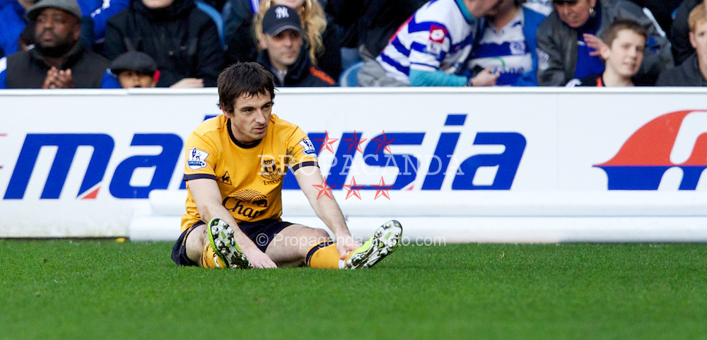 LONDON, ENGLAND - Saturday, March 3, 2012: Everton's Leighton Baines looks dejected during the Premiership match against Queens Park Rangers at Loftus Road. (Pic by Vegard Grott/Propaganda)