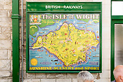 Vintage British Railways rail advertising poster, Swanage railway station, Dorset, England, UK