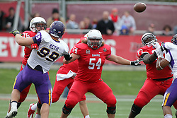 03 October 2015:  Jake Kolbe(16) makes a pass behind protection provided by Cameron Lee(78), Mark Spelman(54) and Kyle Avaloy(77). NCAA FCS Football between Northern Iowa Panthers and Illinois State Redbirds at Hancock Stadium in Normal IL (Photo by Alan Look)