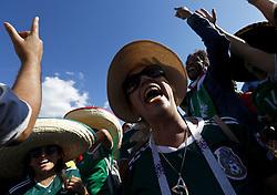 July 2, 2018 - Moscow, Russia - Supporters at Fan Zone - FIFA World Cup Russia 2018.Mexico supporters at Fifa Fan Zone in Moscow, Russia on July 2, 2018. (Credit Image: © Matteo Ciambelli/NurPhoto via ZUMA Press)