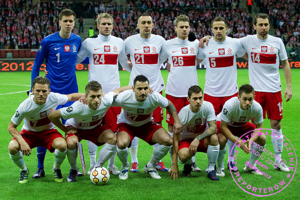 Polish national team (UPPER ROW, L-R) goalkeeper Wojciech Szczesny & Damien Perquis & Ireneusz Jelen & Lukasz Piszczek & Dariusz Dudka & Jakub Wawrzyniak and (DOWN ROW, L-R) Eugen Polanski & Jakub Blaszczykowski & Marcin Wasilewski & Ludovic Obraniak & Maciej Rybus pose before friendly soccer match between Poland and Portugal at National Stadium in Warsaw, Poland..This is the inauguration of the new National Stadium..Poland, Warsaw, February 29, 2012..Picture also available in RAW (NEF) or TIFF format on special request...For editorial use only. Any commercial or promotional use requires permission...Photo by © Adam Nurkiewicz / Mediasport
