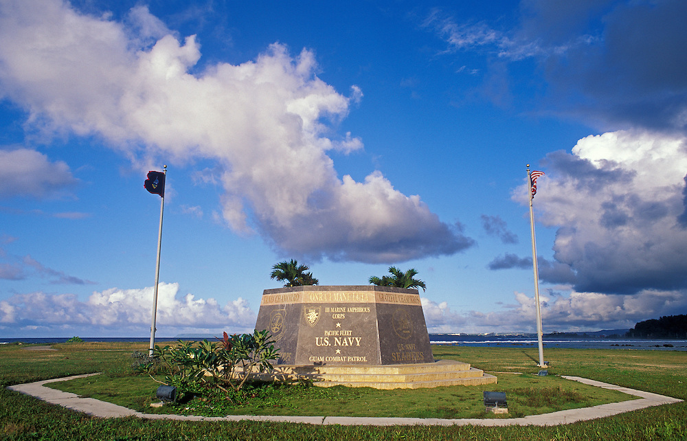 Memorial to World War II US troops by local residents at War in the Pacific National Park, Asan Unit on the island of Guam.