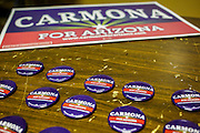 02 AUGUST 2012 - PHOENIX, AZ:  Campaign buttons for Dr. Richard Carmona at an American Legion hall in Phoenix. Carmona, the former US Surgeon General under President George W. Bush, is running for the US Senate as a Democrat. Carmona's personal story is an important part of his campaign. He dropped out of high school to join the US Army. He applied for Special Forces and was turned down because he didn't have a high school diploma, he got his GED, reapplied and was accepted into Special Forces. He served in Vietnam as a combat medic. After he was discharged, he went back to college, became a R.N., went to medical school and became a surgeon, became a police officer and member of the SWAT Team in Tucson, AZ. He became the surgeon general in 2002 and returned to Tucson after his term as surgeon general.    PHOTO BY JACK KURTZ